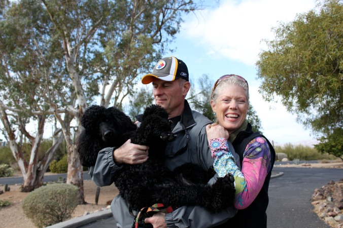 The poodle (Brando), Rocket-man and Moi in Carefree, AZ 2011