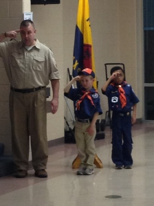 Cub Scout Alexandre-the-Greatest, in tan pants