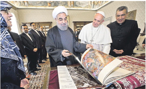 Wall Street Journal Photo:  Pope Francis and Iran's President at The Vatican, exchanging gifts